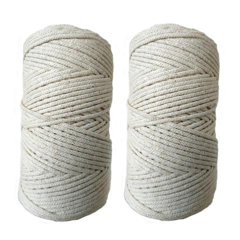 Imagem de Kit com 2 Rolos - Cordão Fio de Algodão para artesanato- 3mm - Macramê e Crochê