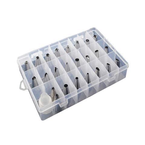 Imagem de Kit com 24 Bicos de Confeitar em Inox com 01 Adaptador e 01 Caixa