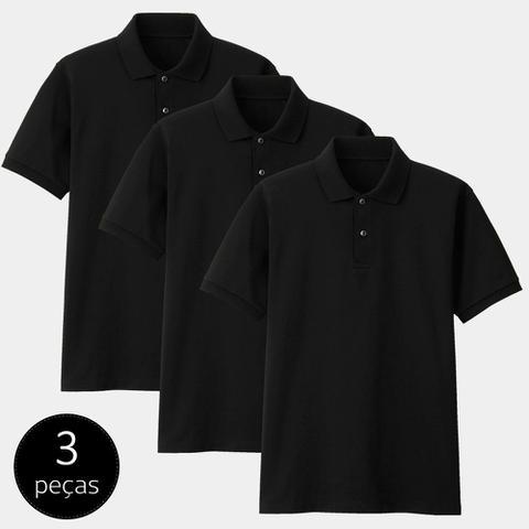 Imagem de Kit com 3 Camisas Polo Part.B Regular Piquet Preta