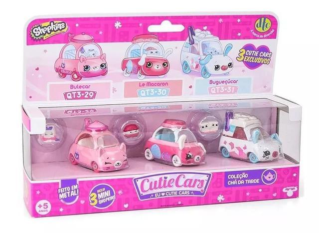 Imagem de Kit com 3 Cutie Cars Coleção Chá da Tarde - Shopkins - Série 3 - Die Cast - DTC
