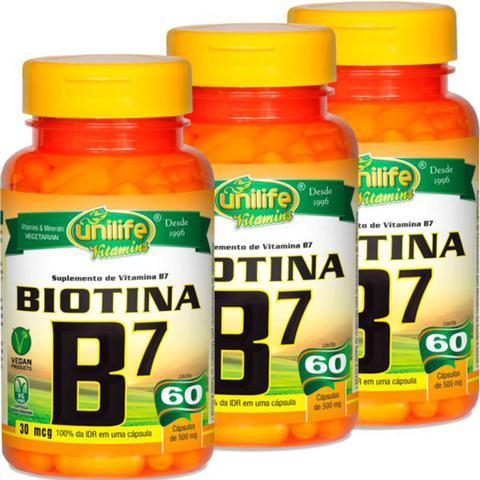 Imagem de Kit com 3 Frascos de Vitamina B7 Biotina 60 Cápsulas Unilife