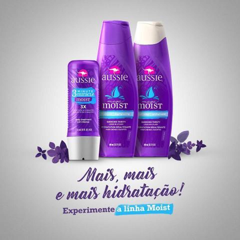 Imagem de kit com 3 Shampoo Aussie Moist 180ml