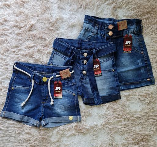 Imagem de Kit com 3 shorts jeans infantil menina com elastano tam 10 ao 16 anos