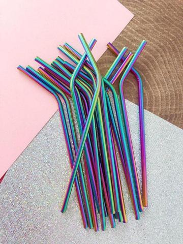 Imagem de Kit com 4 canudos de inox furta-cor + escova para limpeza