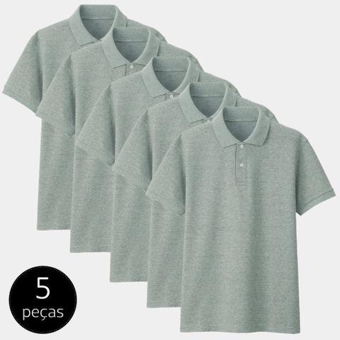 Imagem de Kit com 5 Camisas Polo Part.B Regular Piquet Cinza