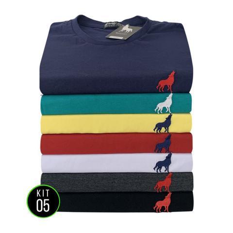 Imagem de Kit com 5 Camisetas básicas Gola careca Vira Lata Wear 100% Algodão 30.1 Original