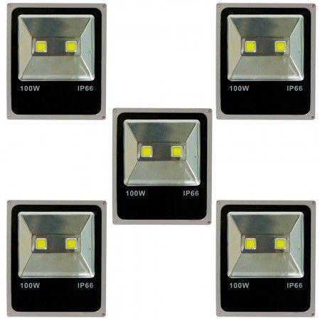 Imagem de Kit Com 5 Pecas - Holofote Refletor Super Led Duplo 100w Bivolt Branco Quente