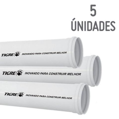 Imagem de Kit com 5 Tubos Esgoto Branco 100mm X 3m