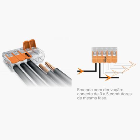 Imagem de Kit Com 50 Conector Wago Emenda 5 Fios Mod 221-415