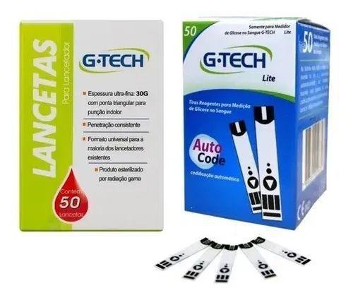 Imagem de Kit Com 50 Tiras De Medir Glicose Glicemia + 50 Lancetas Para Lancetador Gtech