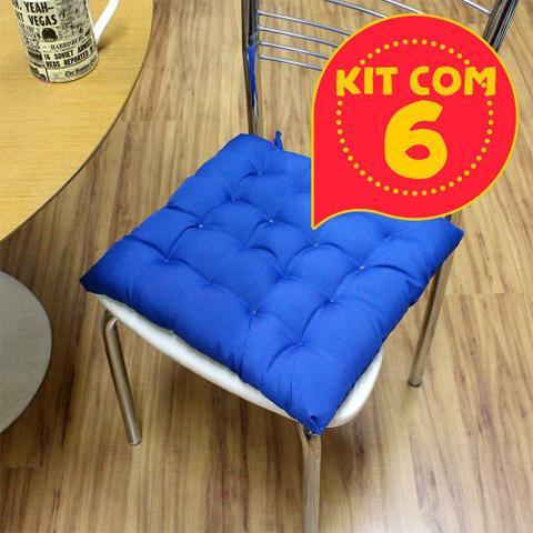 Imagem de Kit com 6 almofada futon assento para cadeira - azul