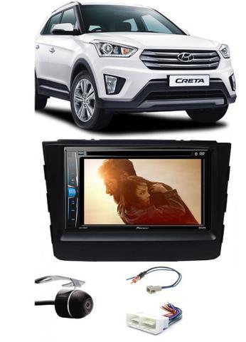 Imagem de Kit Combo DVD Pioneer AVH-A208BT + Moldura de Painel 2 Din + Chicote C/ Adaptador de Antena + Câmera de Ré Hyundai Creta 2017