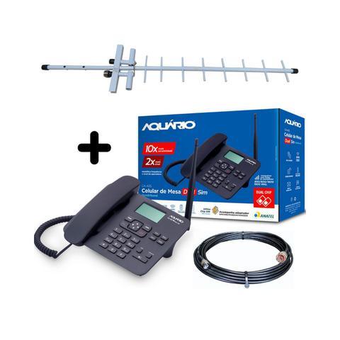 Imagem de Kit Completo De Telefone Rural Desbloqueado Aquario Ca42s + Antena De Celular + Cabo 10 Metros