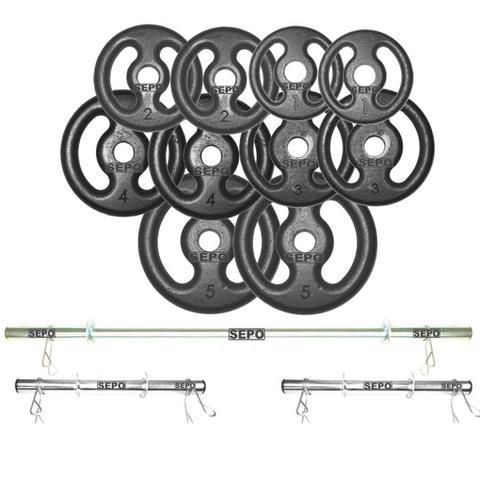 Imagem de Kit Completo Para Fitness Anilhas e Barras