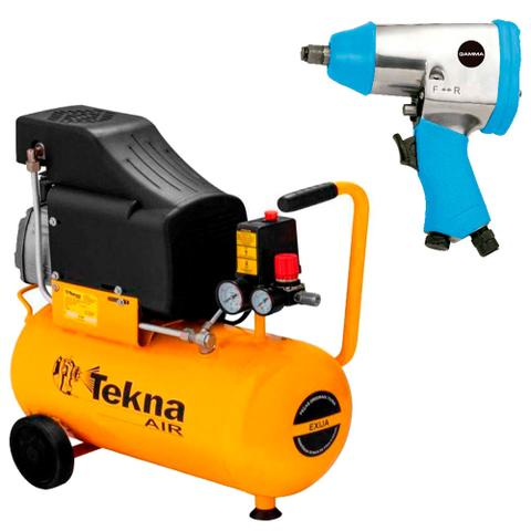 Imagem de Kit Compressor de Ar 24L CP8525 Tekna + Chave de Impacto G1178 Gamma