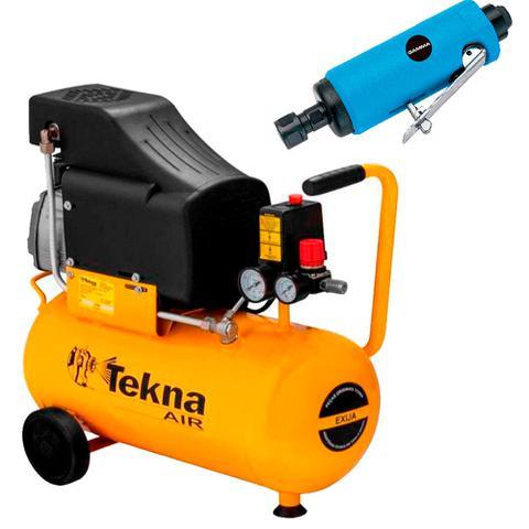 Imagem de Kit Compressor de Ar 24L CP8525 Tekna + Retífica Reta G1176 Gamma