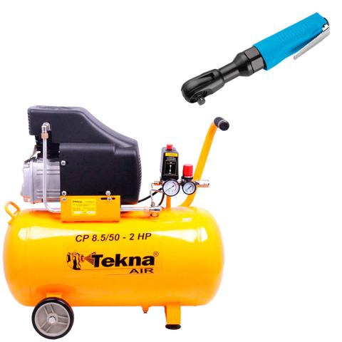 Imagem de Kit Compressor de Ar 50L CP8550 Tekna + Chave de Catraca G1383 Gamma