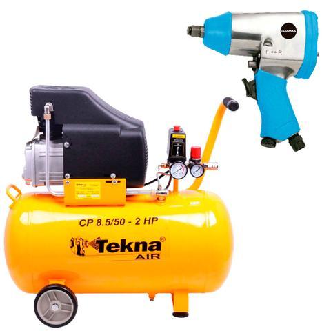 Imagem de Kit Compressor de Ar 50L CP8550 Tekna + Chave de Impacto G1178 Gamma