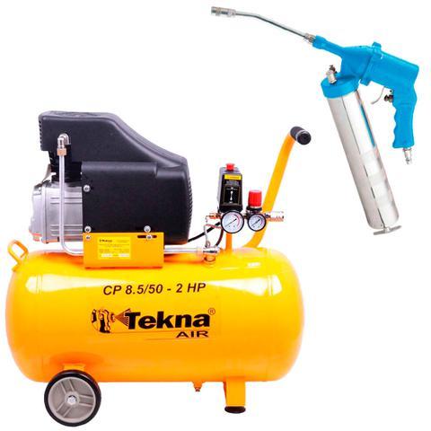 Imagem de Kit Compressor de Ar 50L CP8550 Tekna + Engraxadeira Pneumática G1182 GammaBRBR