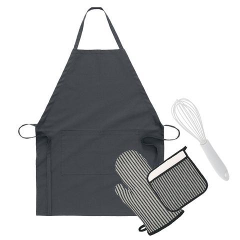 Imagem de Kit Confeiteiro Chef Avental Luva Pegador e Batedor Fouet