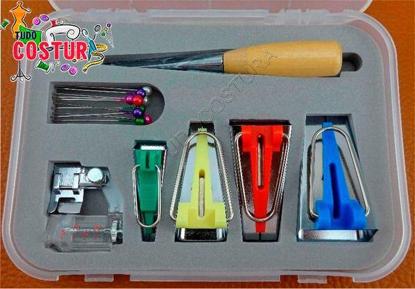 Imagem de Kit Conjunto Aparelho Calcador Fazer Pregar Viés Manual.