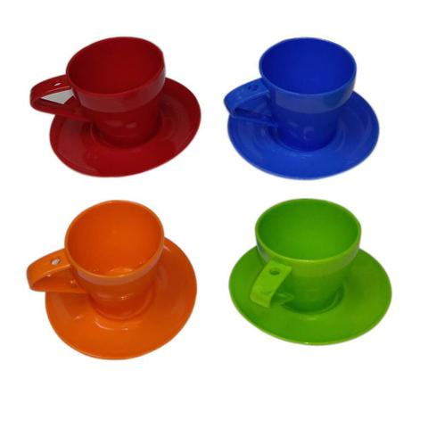 Imagem de Kit Conjunto Casual Cafezinho 4 Xícaras e Pires Coloridos