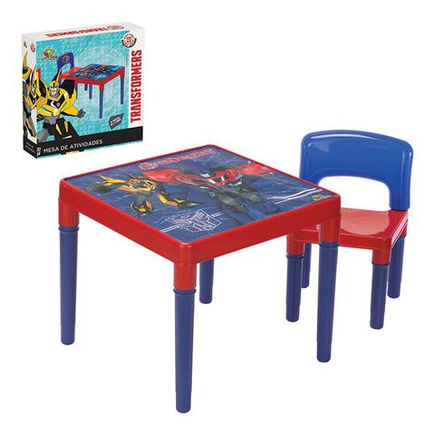 Imagem de Kit conjunto mesa infantil mesinha transformers desmontavel didatica de atividades com cadeira menin