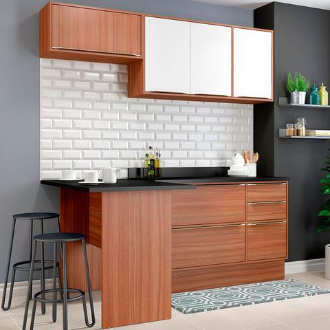 Imagem de Kit Cozinha 06 Peças 5460R Calábria  Balcão Pia Com Tampo - Multimóveis