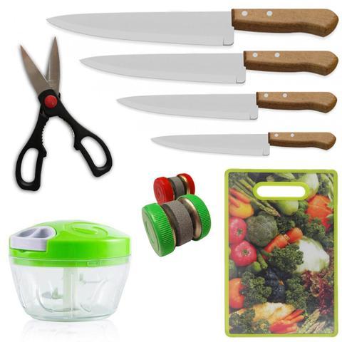 Imagem de Kit Cozinha 4 Faca 2 Afiador 1 Tabua 1 Tesoura 1 Triturador