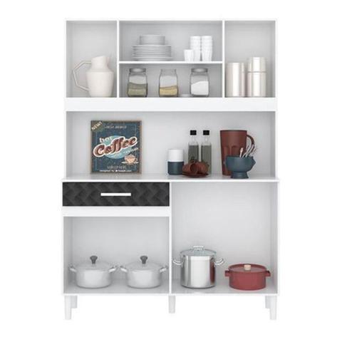 Imagem de Kit Cozinha 7 Portas Magazin 120 Cm Branco Preto 3d Nicioli