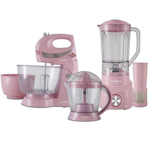 Imagem de Kit Cozinha Britânia 3 em 1 Rosa BKT09R