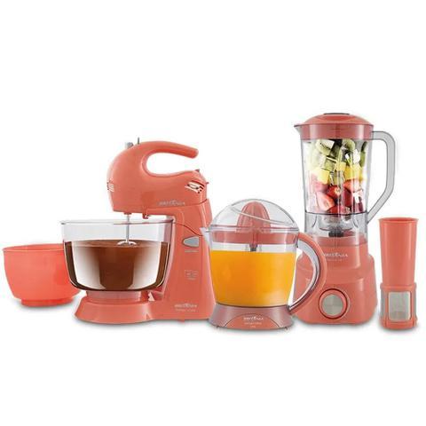 Imagem de Kit Cozinha Britânia Trend 3 em 1, Liquidificador, Batedeira, Espremedor, Rosa - 110V