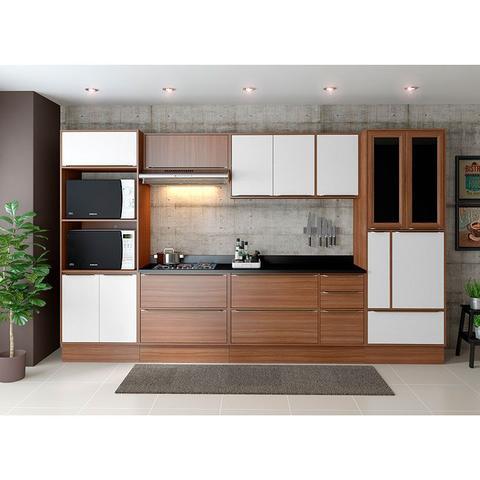 Imagem de Kit Cozinha com Rodapé 11 Peças 5450R Calábria - Balcão Pia C/ Tampo - Multimóveis.