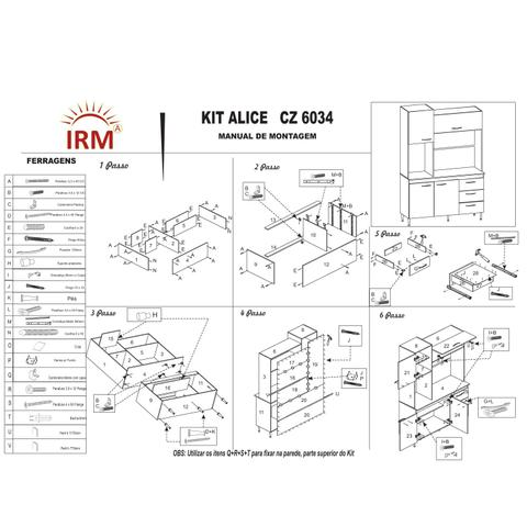 Imagem de Kit Cozinha Compacta Alice 04 Portas 03 Gavetas Branco Preto - IRM