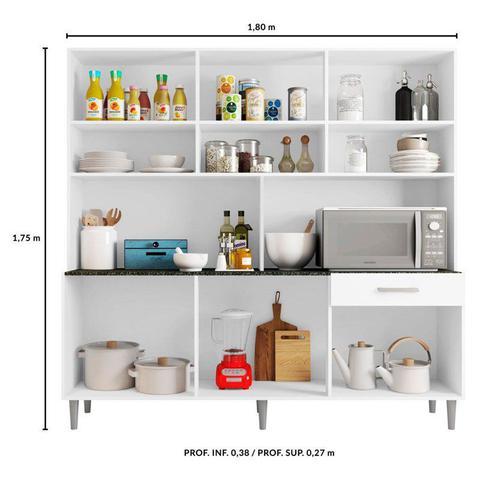 Imagem de Kit Cozinha Compacta Clara 12 Portas Branco - Poliman