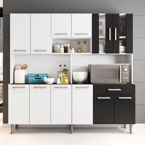 Imagem de Kit Cozinha Compacta Clara 12 Portas Branco/Preto - Poliman