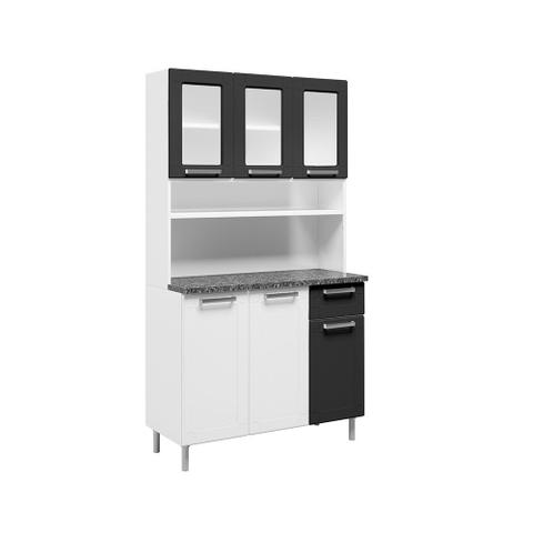 Imagem de Kit Cozinha Compacta com Vidro 6 Portas e 1 Gaveta Bertolini