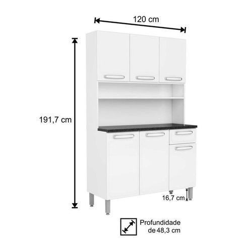 Imagem de Kit Cozinha Compacta Evidence Aço 6 Portas 1 Gaveta 7144 Branco - Bertolini
