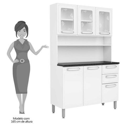 Imagem de Kit Cozinha Compacta Evidence Aço 6 Portas 2 Gavetas 7146 Branco - Bertolini
