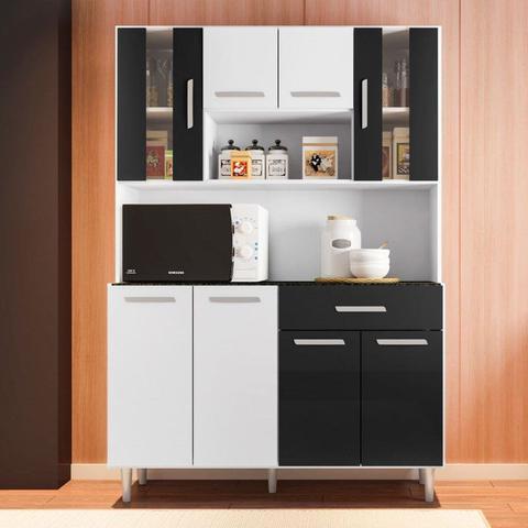 Imagem de Kit Cozinha Compacta Gabi 8 Portas Branco/Preto - Poliman