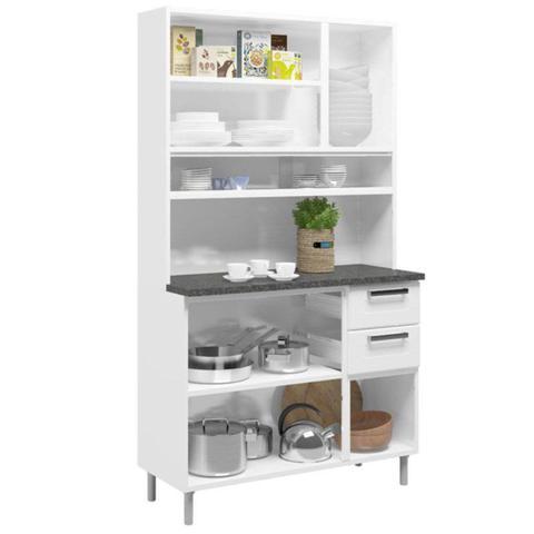 Imagem de Kit Cozinha Compacta Múltipla Aço 8 Portas e Vidro 6145 Branco/Preto - Bertolini