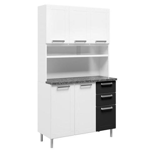 Imagem de Kit Cozinha Compacta Múltipla Aço Vidro 8 Portas 6144 Branco/Preto - Bertolini