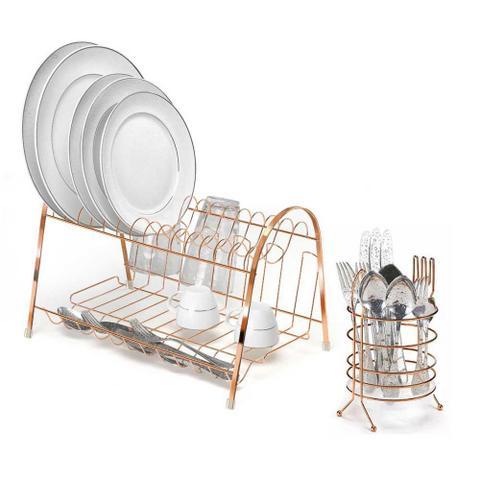 Imagem de Kit Cozinha Escorredor de Louça Duplo e Porta Talheres Rose