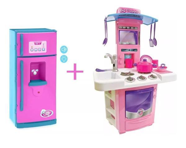 Imagem de Kit cozinha infantil completa sai agua big star + geladeira lechef