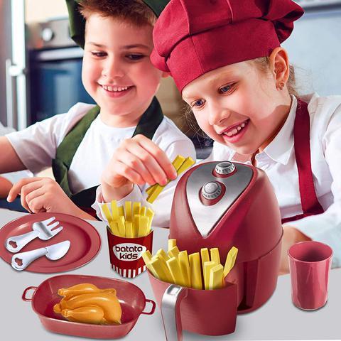 Imagem de Kit Cozinha Infantil Fritadeira Air Fryer Vermelha 12 Peças