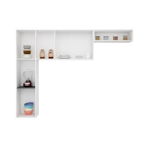 Imagem de Kit Cozinha Júlia Compacta Suspensa Armário 3 Peças 6 Portas Preto - Poquema