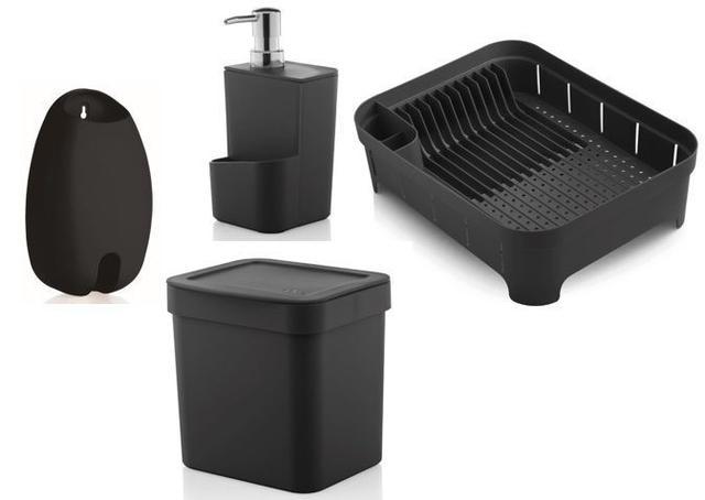 Imagem de Kit cozinha Preto 4 peças OU escorredor pratos dispenser detergente esponja lixeira suporte sacola