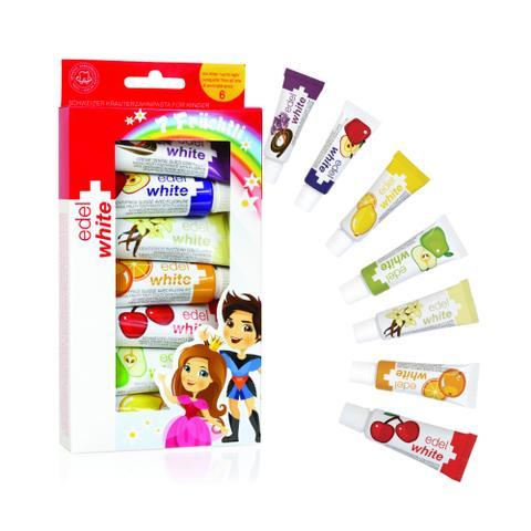 Imagem de Kit Creme Dental Fruchtli Kids Edel White 7 Sabores