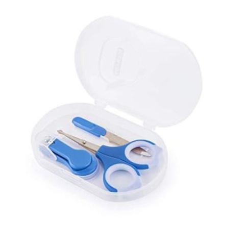 Imagem de Kit Cuidados Com O Bebe Acessorios De Higiene Conjunto Kit Manicure Infantil Bebe Premium Azul Kababy Cortador Tesoura.
