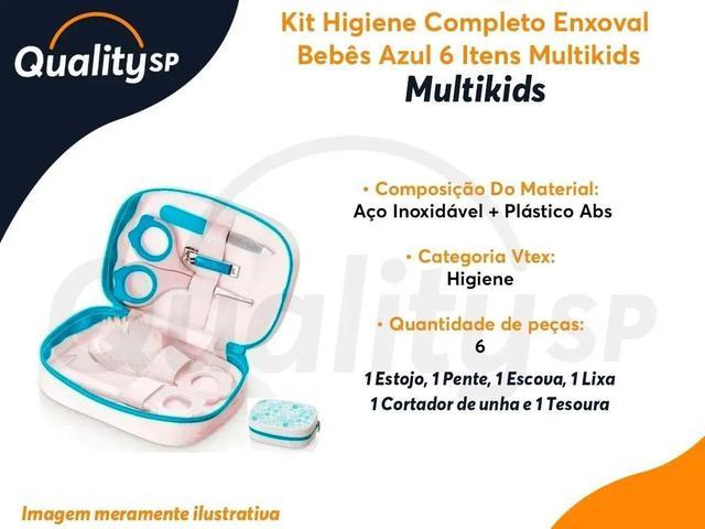 Imagem de Kit Cuidados Higiene Bebe Multikids 6 Itens Estojo E Tesoura